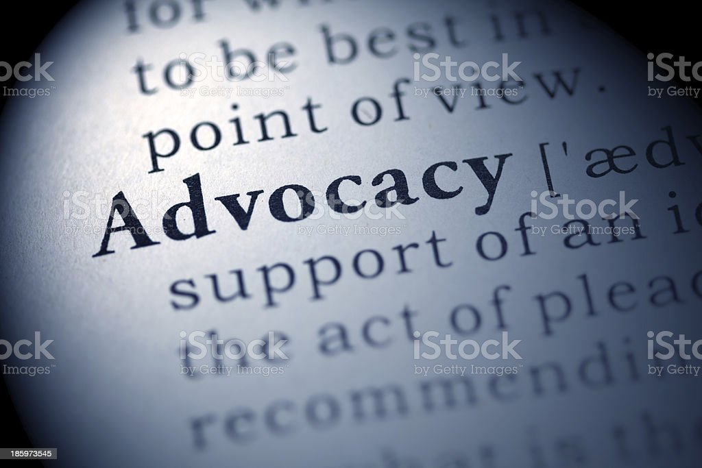 Closeup view of the definition of advocacy royalty-free stock photo