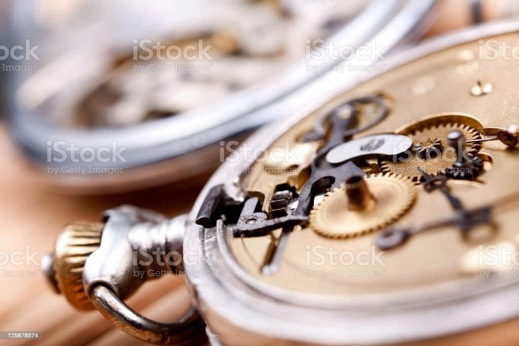 Closeup view of the inside of a pocketwatch stock photo