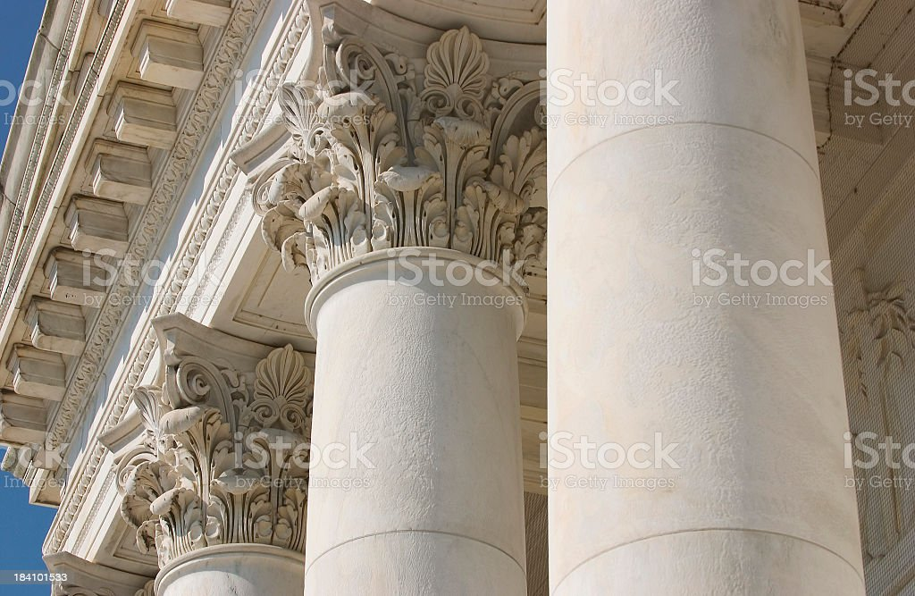 Close-up view of the top of architectural columns royalty-free stock photo