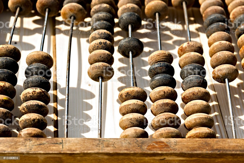 Closeup view of vintage abacus stock photo