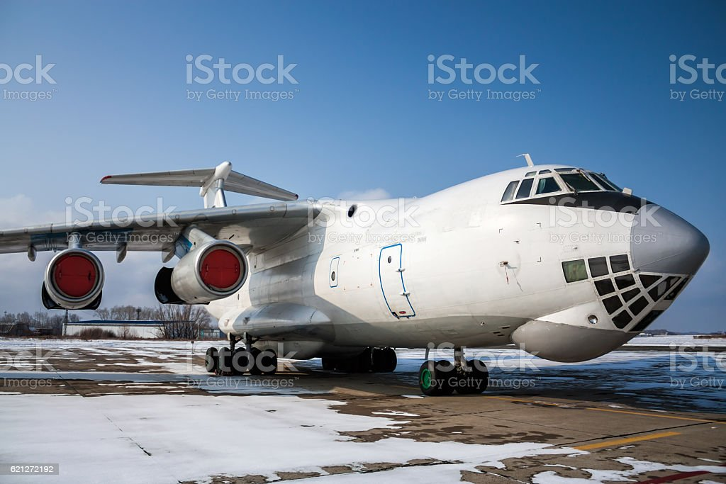 Close-up view of wide body cargo airplane royalty-free stock photo