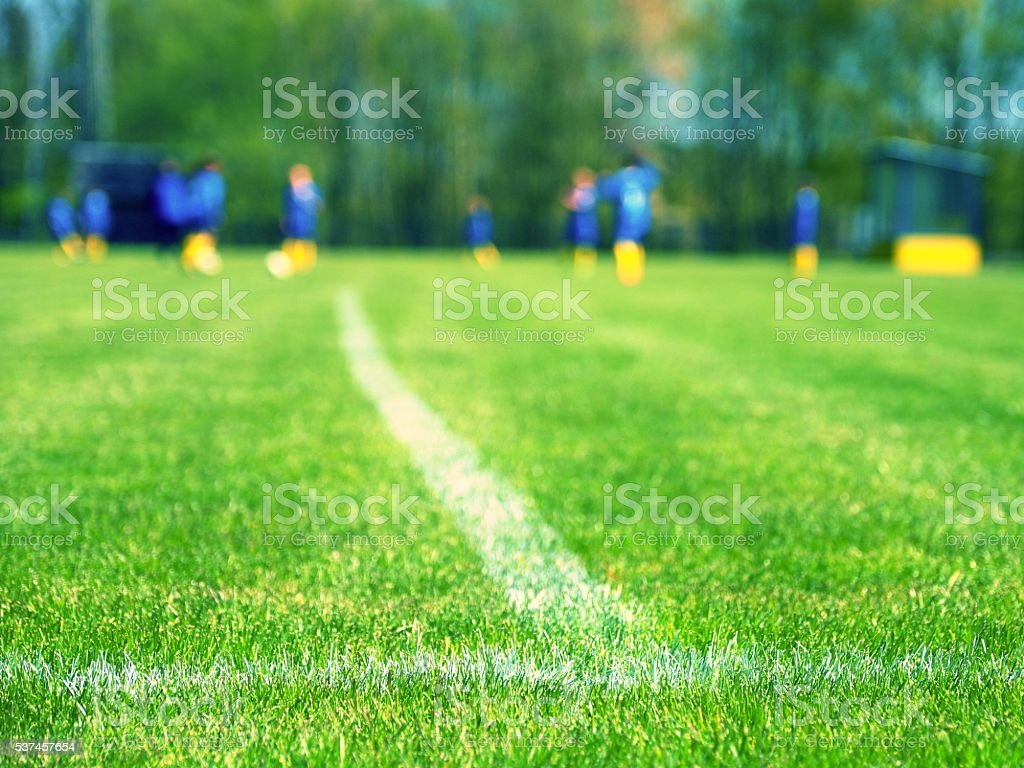 Closeup view to white lines football playground. Detail of lines stock photo