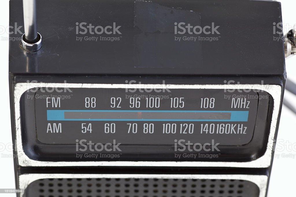 XXXL Close-up Vintage Black Plastic Transistor Radio Isolated White Background stock photo