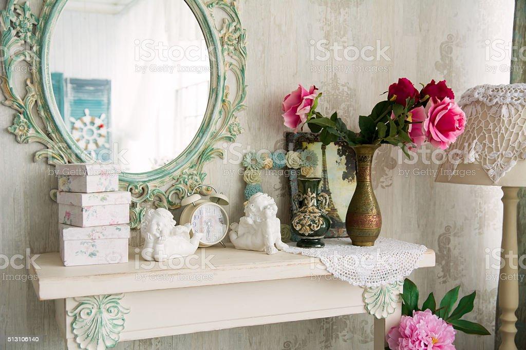 Closeup vintage interior with mirror stock photo