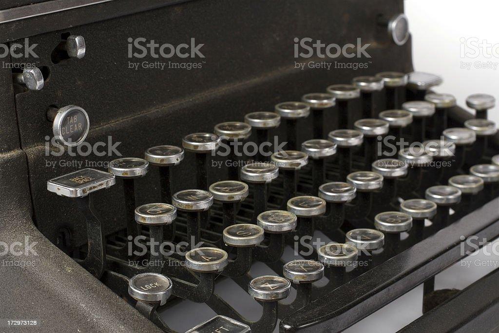 Close-up vintage qwerty typewriter keys royalty-free stock photo