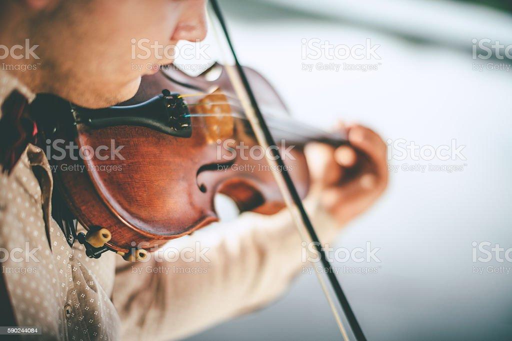 Close-up violin playing stock photo