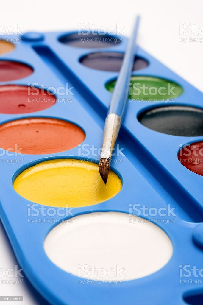 Close-up watercolor box over the white royalty-free stock photo