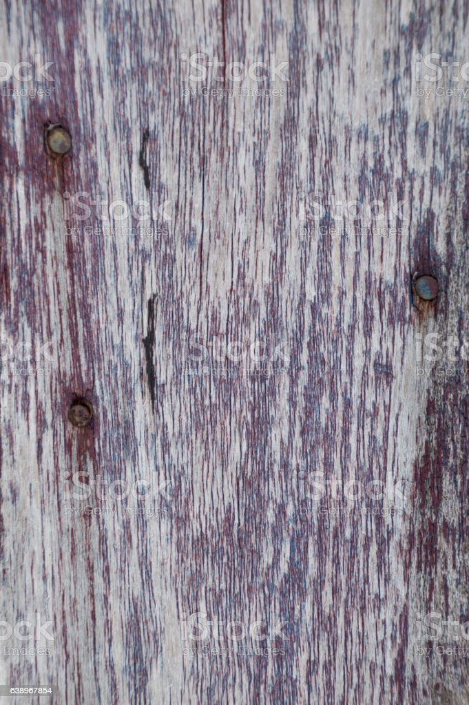 Closeup weathered red painted wooden board background stock photo