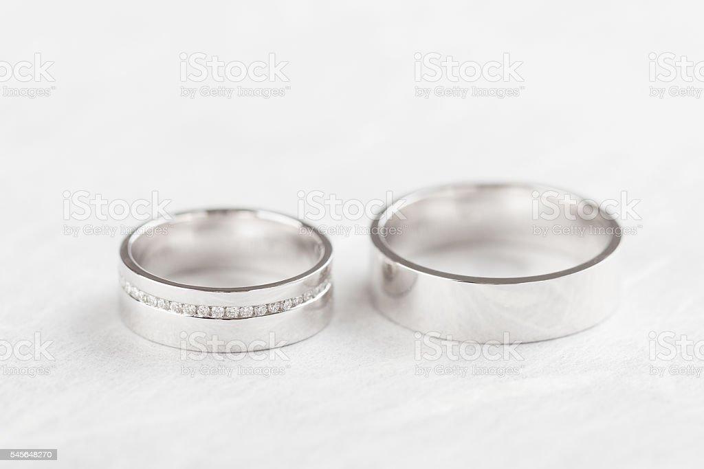 Closeup wedding rings stock photo