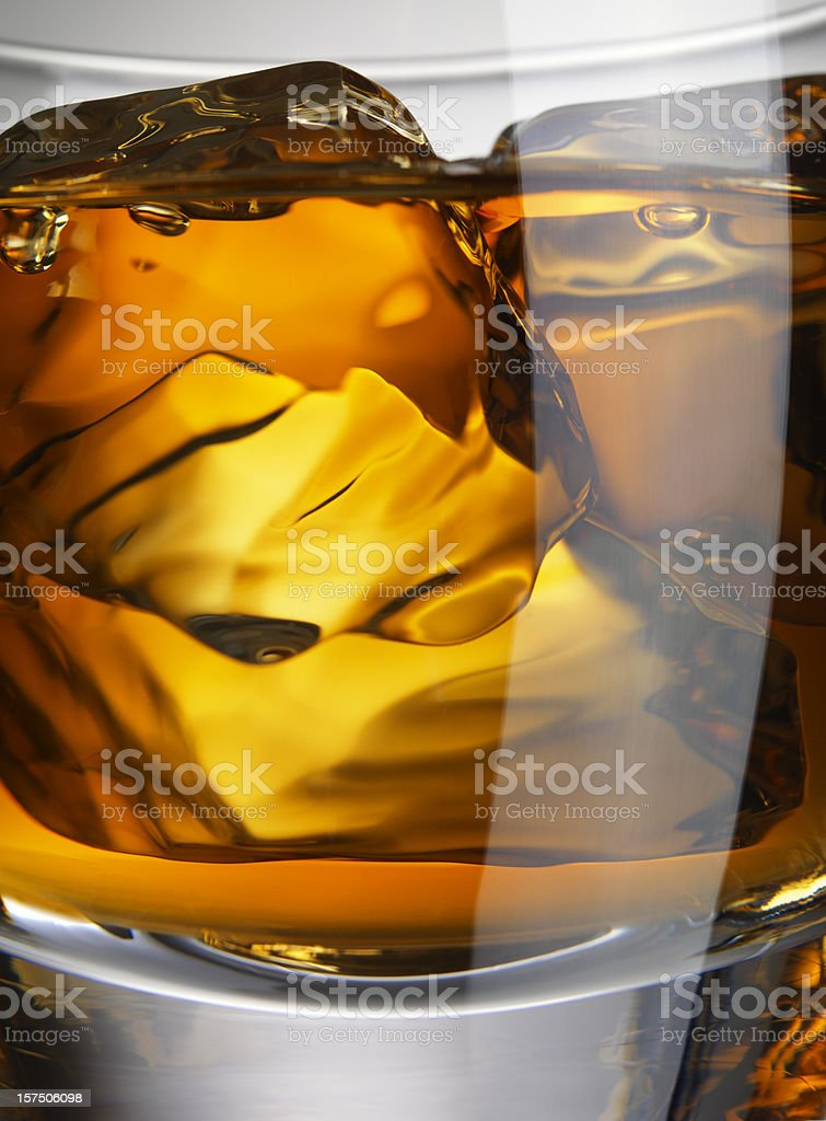 Close-up Whiskey Glass with ice cubes royalty-free stock photo