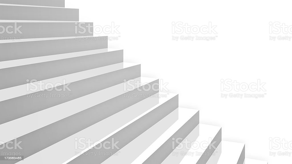 close-up white glossy stairs in diagonal perspective royalty-free stock photo