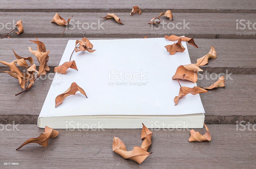 Closeup white note book on wooden table in the garden stock photo