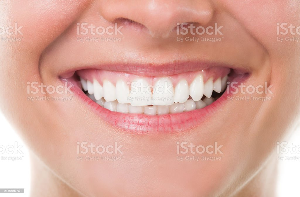 Close-up with perfect smile stock photo