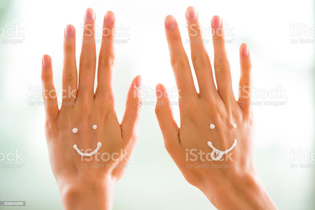 Closeup woman beautiful hands stock photo
