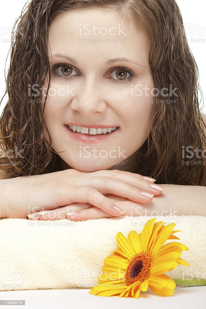 closeup woman portrait laying on towel stock photo