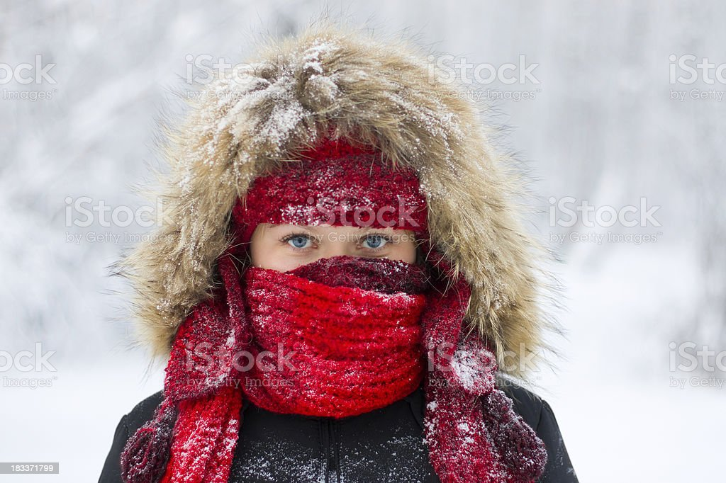 Close-up women's portrait on frosty day royalty-free stock photo