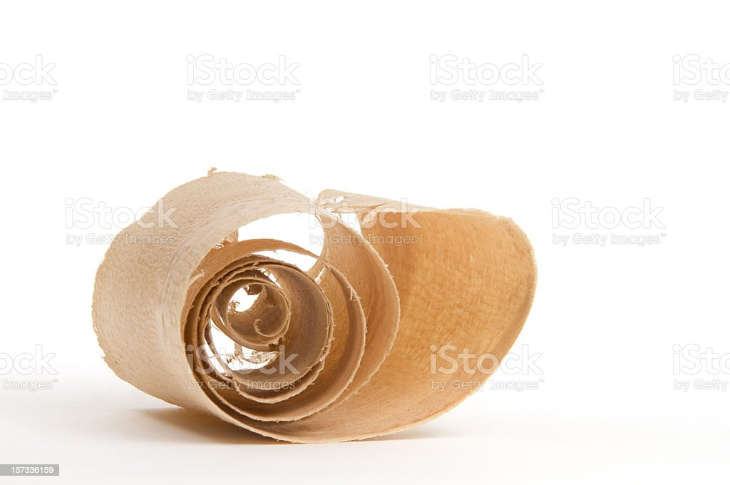 Close-up Wood Curl/Shaving #12-isolated on white royalty-free stock photo