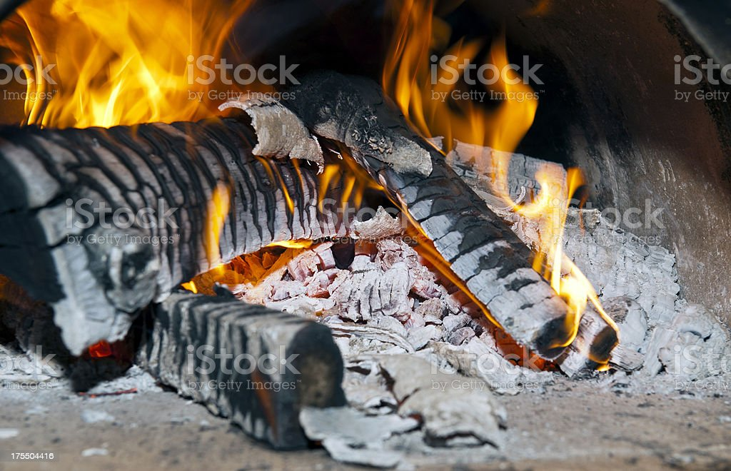 Close-up Wood Flames stock photo