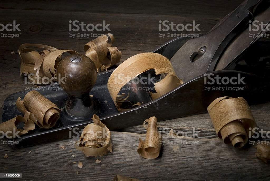 Close-up Wood planer with wood curl/shavings #8 stock photo