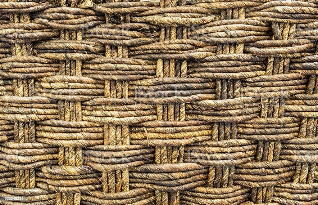 Closeup wood weaved basket texture background stock photo