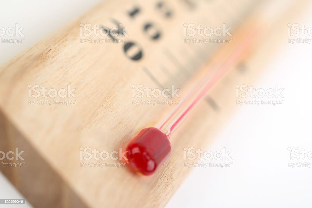 Close-up wooden thermometer stock photo