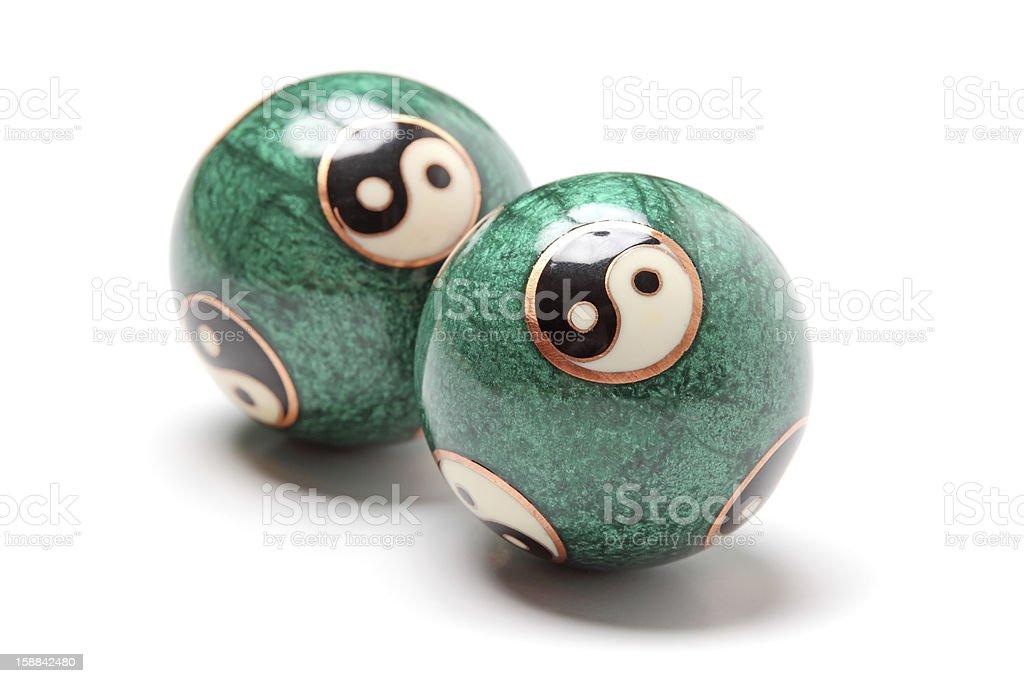Close-up yin yang balls. stock photo
