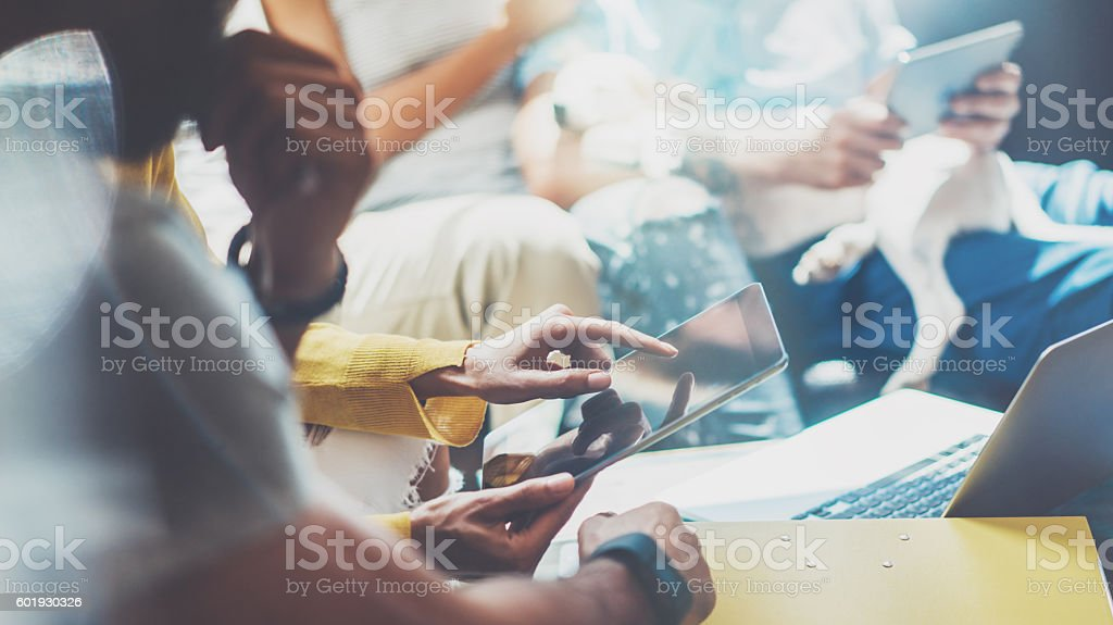 Closeup Young Woman Using Modern Tablet Hand.Hipster Making Great stock photo