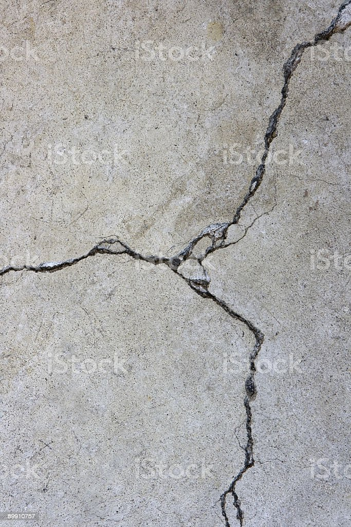 Closeup y-Shaped Cracked Cement Background royalty-free stock photo