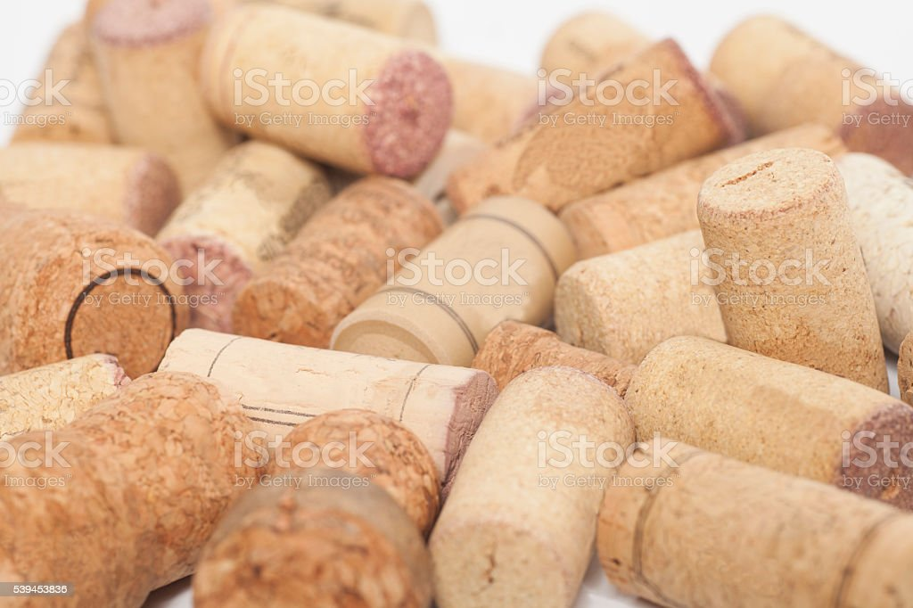 close-ups of wine corks background stock photo
