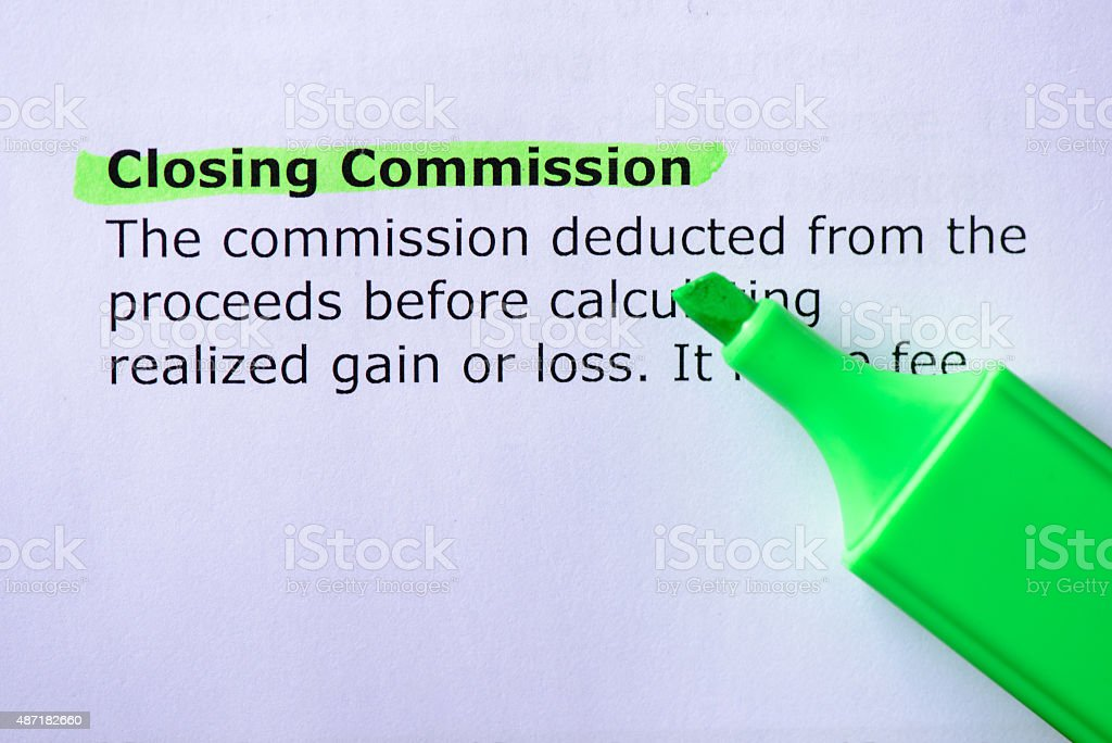 Closing Commission stock photo