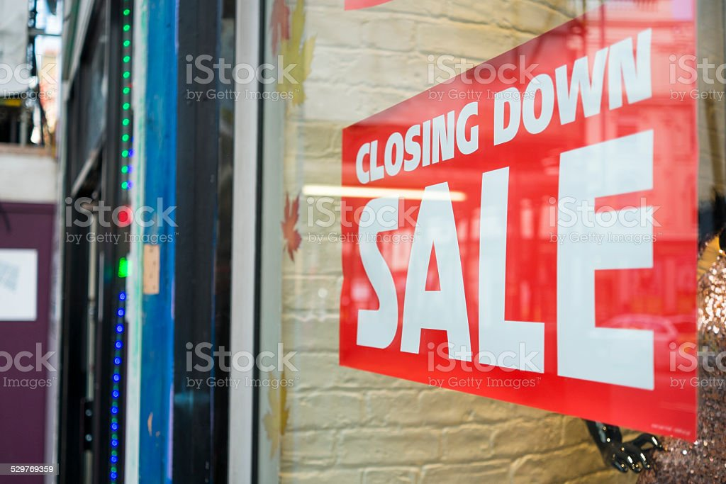 Closing down sale stock photo