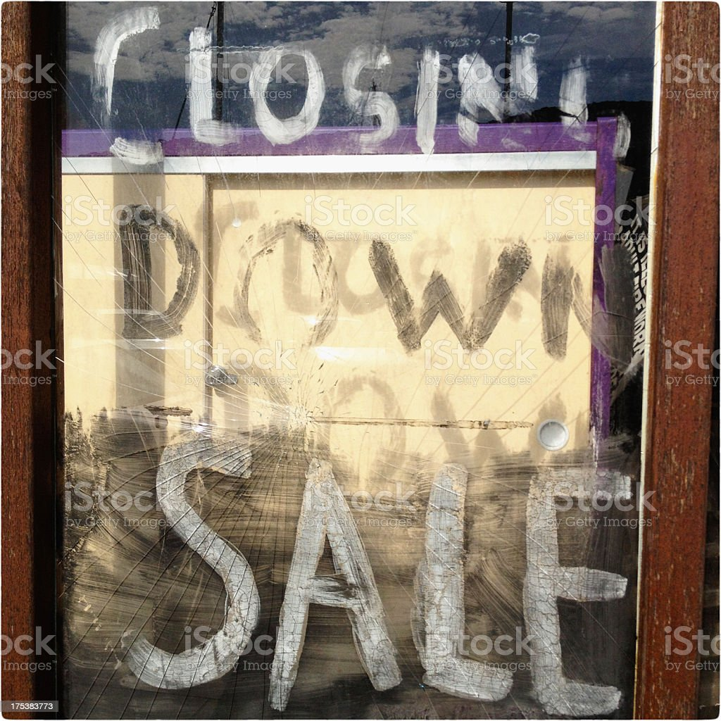 closing down sale - retail recession shop window royalty-free stock photo