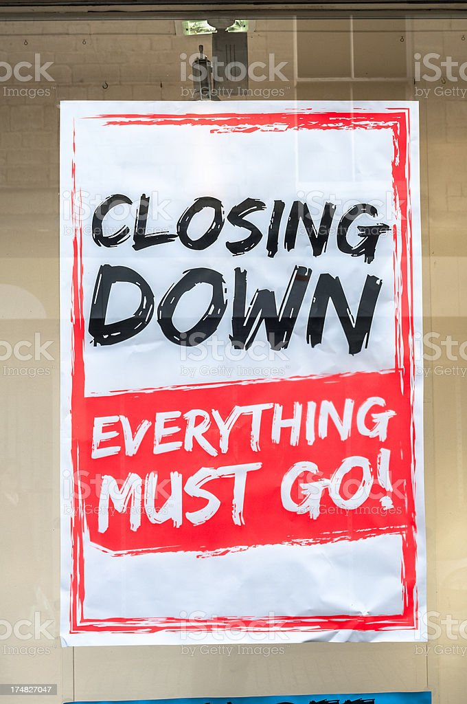 Closing Down Sign In A Shop Window royalty-free stock photo