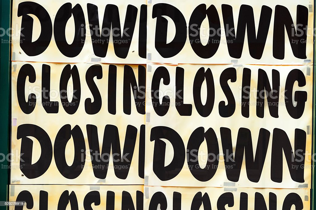 Closing Down Sign In A Shop Window stock photo