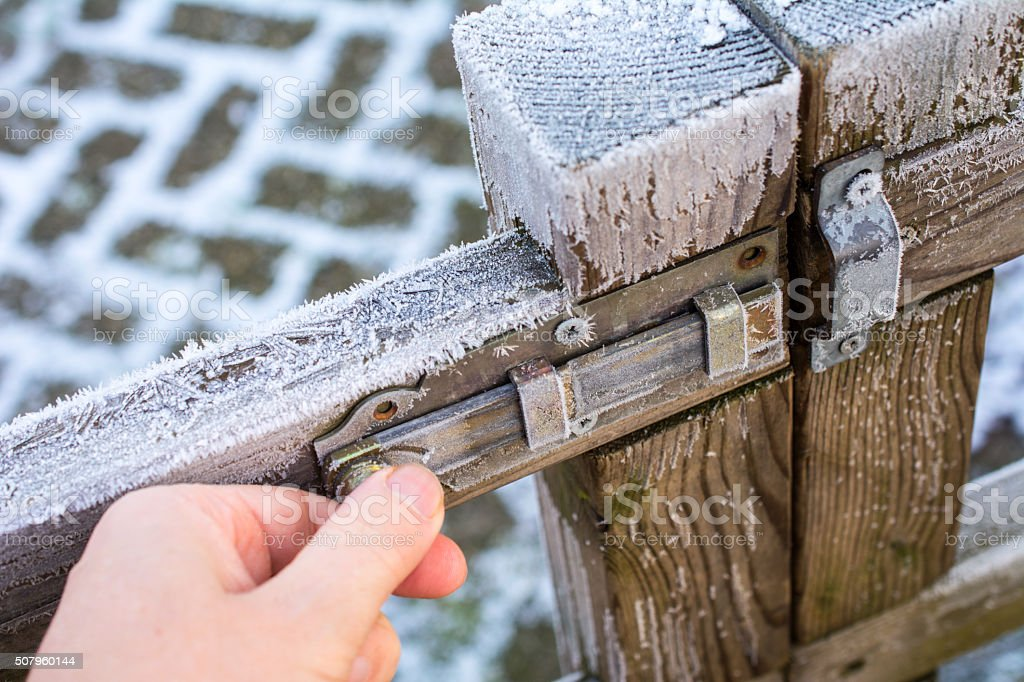closing or opening frosted gate stock photo