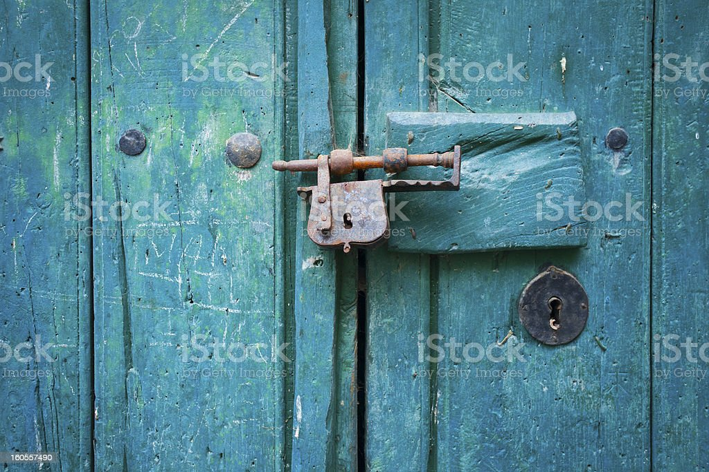 Closure of Old Wooden Door royalty-free stock photo