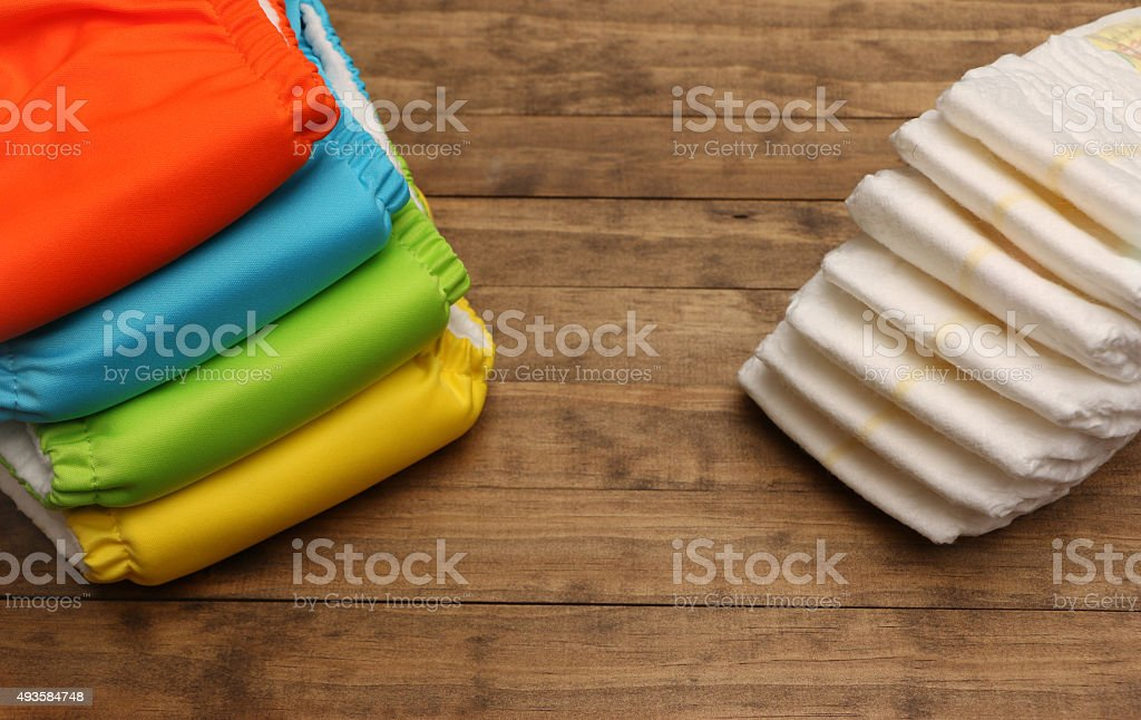 Cloth and Disposable Diapers stock photo