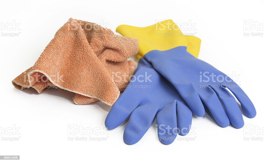 cloth and rubber gloves stock photo