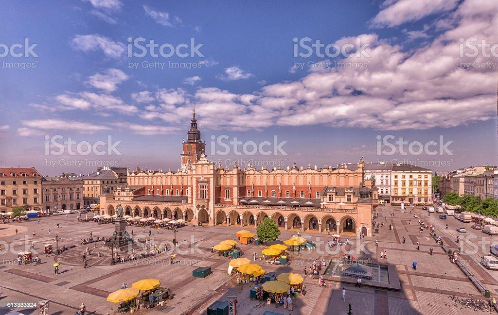 Cloth hall on the main market square in Krakow, Poland stock photo