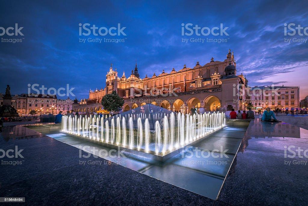 Cloth Hall Sukiennice building at night in Krakow, Poland. stock photo