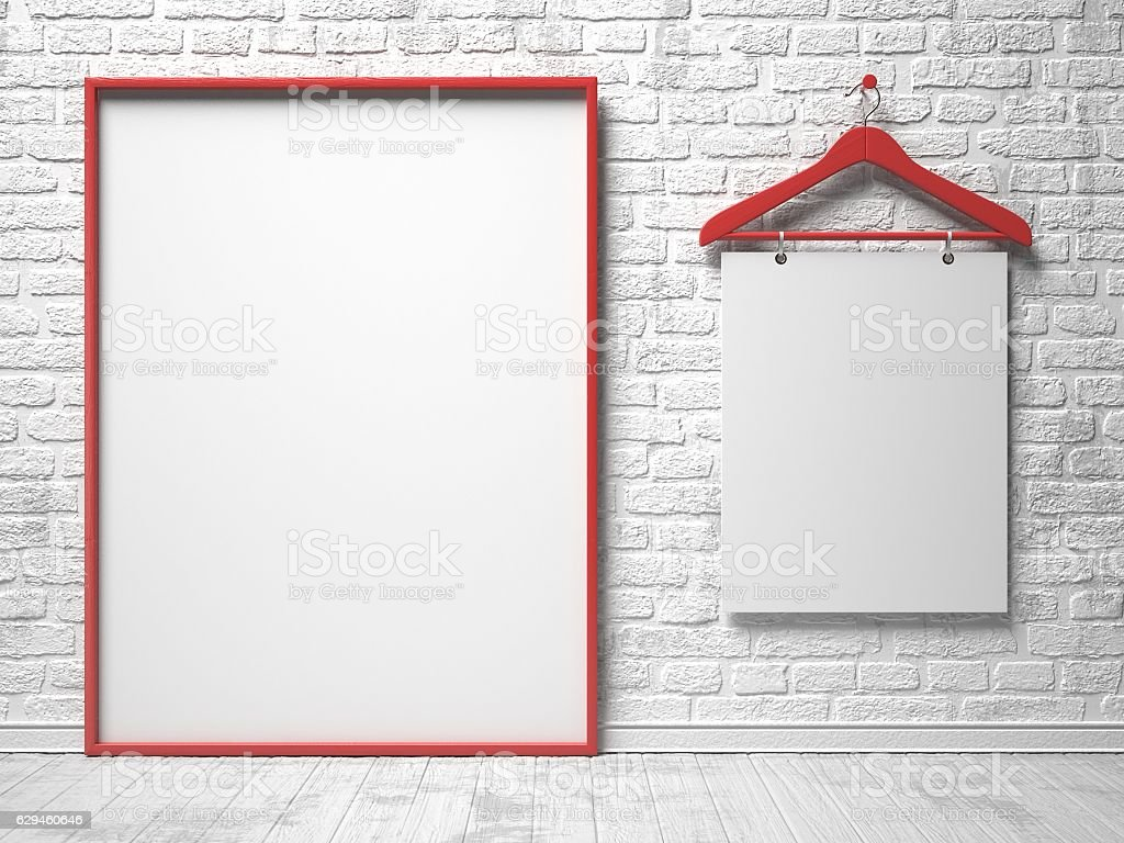 Cloth Hanger And White Canvas On The White Painted Wall Stockfoto ...