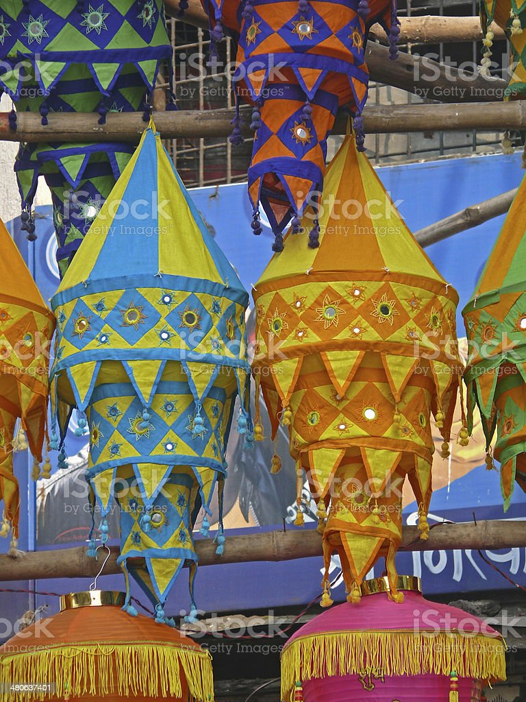 Cloth made Lanterns hanged for selling stock photo