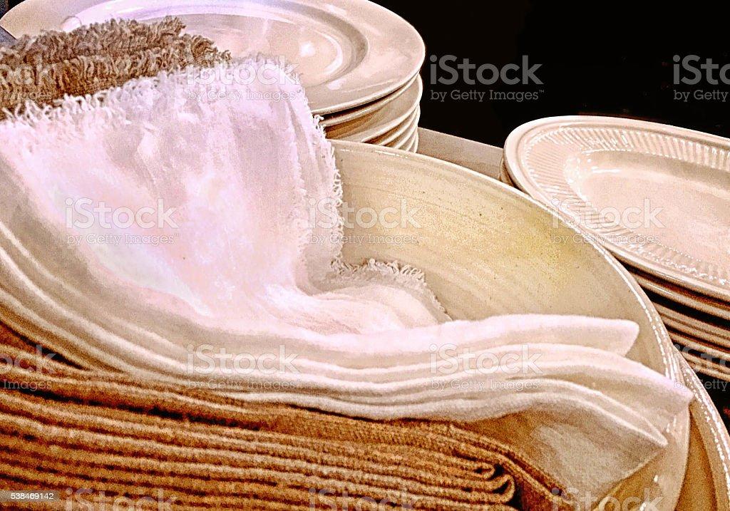 Cloth Napkins on Ceramic Plates stock photo