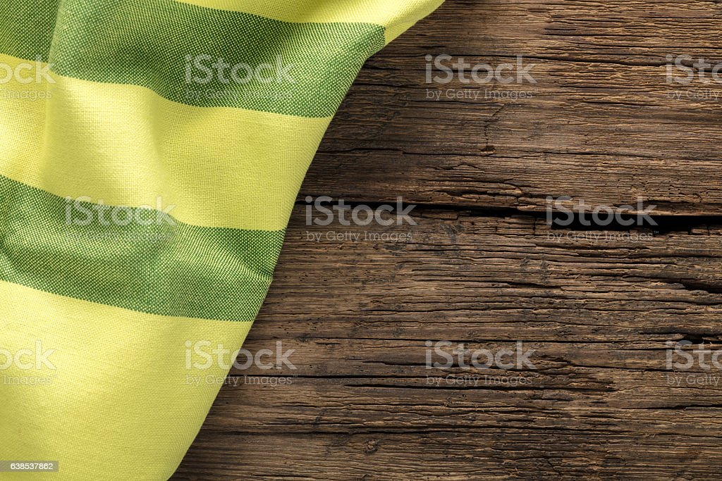 cloth on a wooden surface stock photo