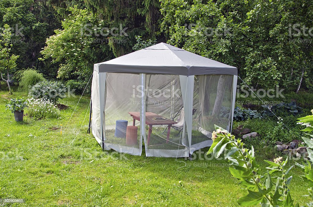 cloth summer tent for mosquito protection net stock photo
