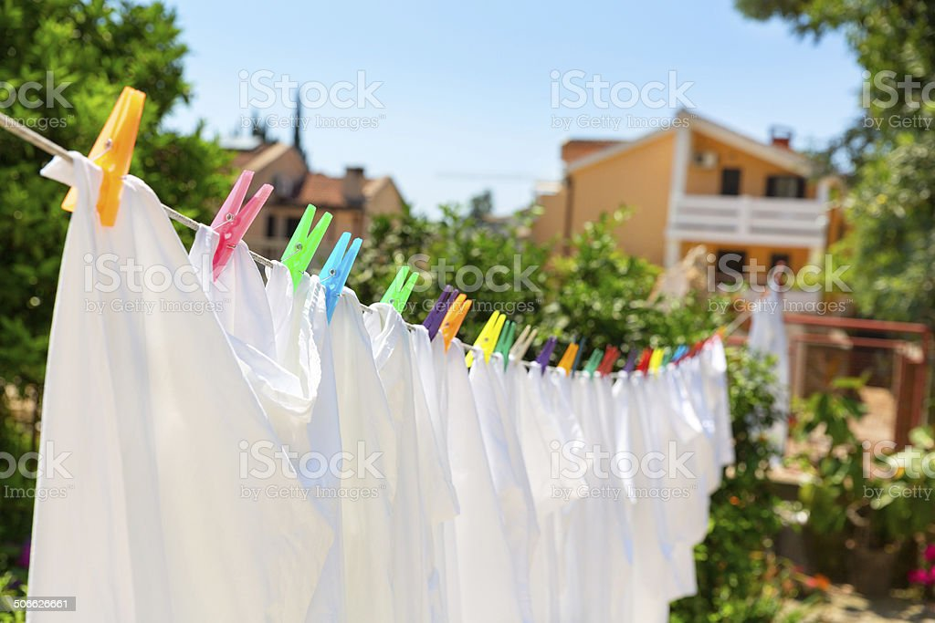 Cloth with colorful pins stock photo