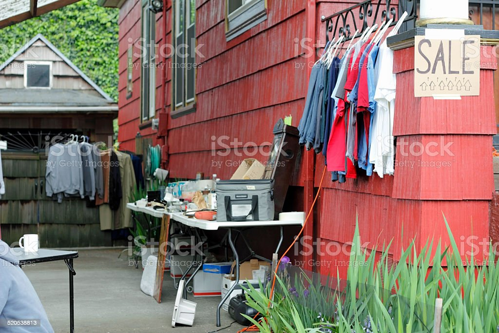 Clothes and Other Items for Sale stock photo