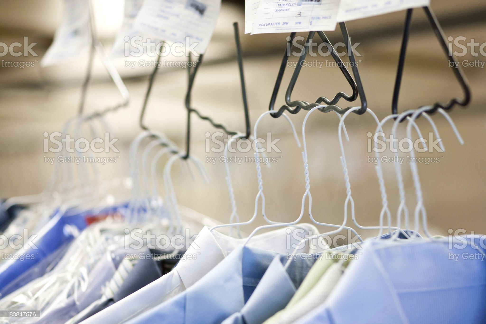 Clothes at a dry cleaners royalty-free stock photo