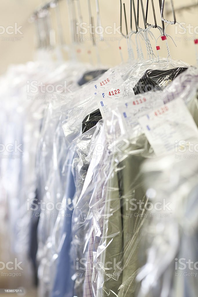 clothes at the dry cleaners finished stock photo