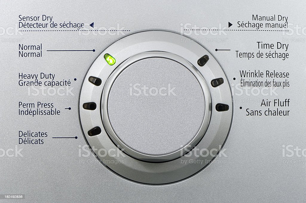 Clothes dryer control stock photo
